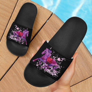 Running Horse Slide Sandals | Black Slides
