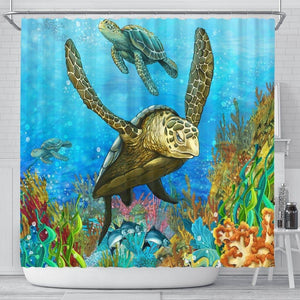Turtle Shower Curtain, V.5 shower curtain