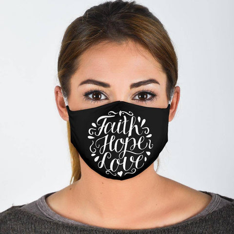 Faith Hope Love Face Mask Face Mask Face Mask - White Adult Mask + 2 FREE Filters (Age 13+)
