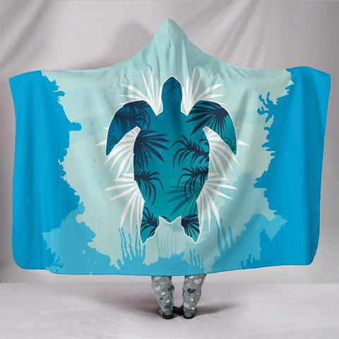 "Image of Custom Hoodie Blanket - Turtle Swimming Hooded Blanket Youth 60""x45"""