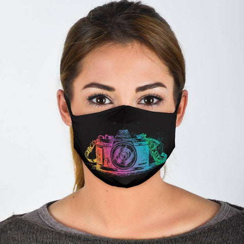 Image of Colorful Camera Fask Mask Face Mask Face Mask - Black Adult Mask + 2 FREE Filters (Age 13+)