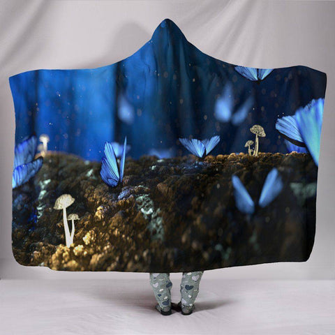 Image of Cool Blue Butteryfly Hoodie Blanket