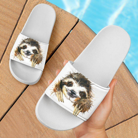 Image of Super Cute Watercolor Sloth Slide Sandals Slides