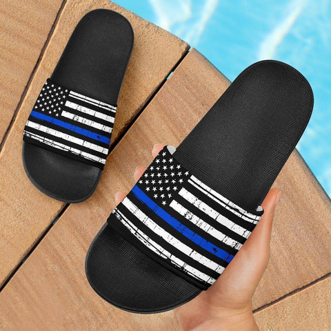 Thin Blue Line Slide Sandals