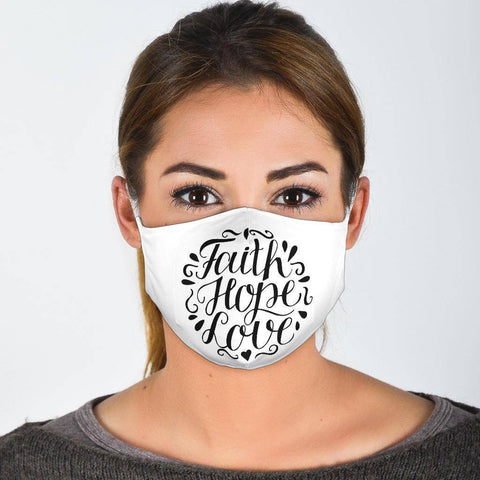 Image of Faith Hope Love Face Mask Black Face Mask Face Mask - White Adult Mask + 2 FREE Filters (Age 13+)