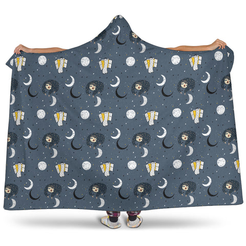 Image of Sleeping Sloth Hooded Blanket Small Print