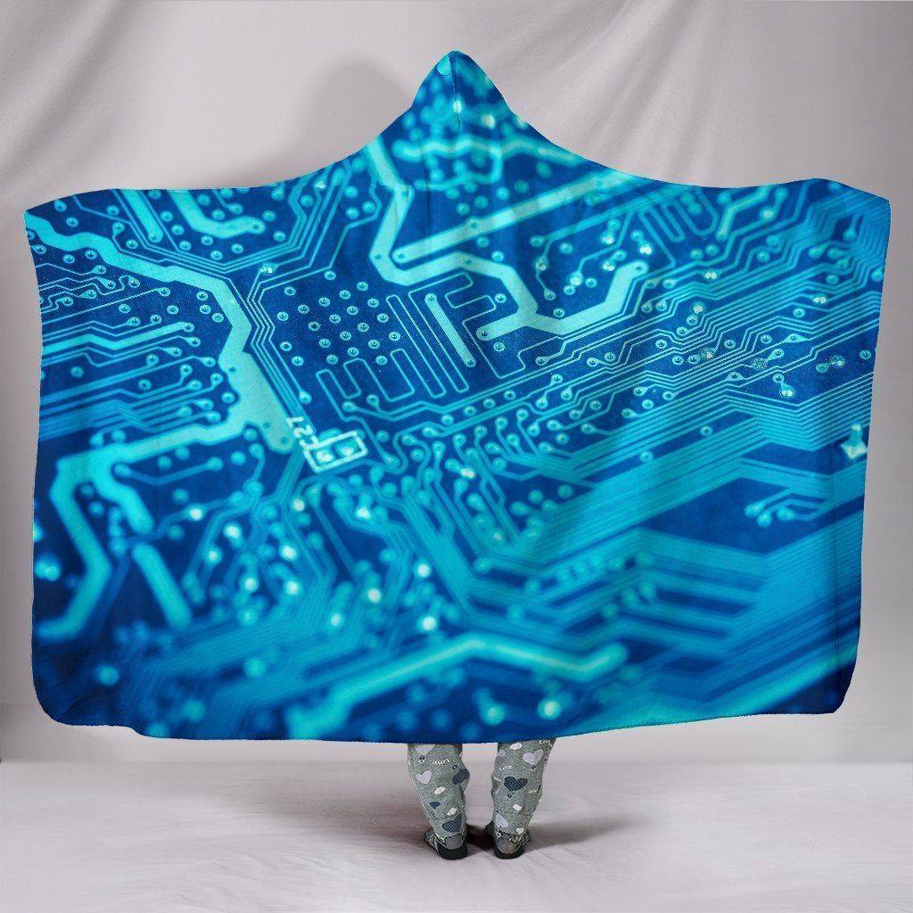 Premium Hoodie Blanket with Blue Circuit Board V.1