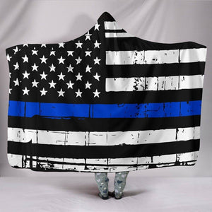 Thin Blue Line Hooded Blanket