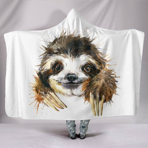 Image of Smiling Sloth Hoodie Blanket