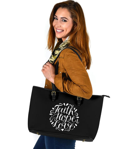 Image of Faith Hope Love, Large Vegan Leather Tote Bags