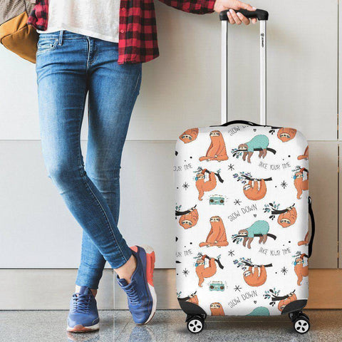 Image of Cool Sloths Luggage Cover White