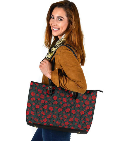 Image of Red Roses, Large Vegan Leather Tote Bags