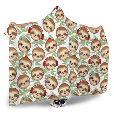 Dj Sloth Hooded Blanket Large Print