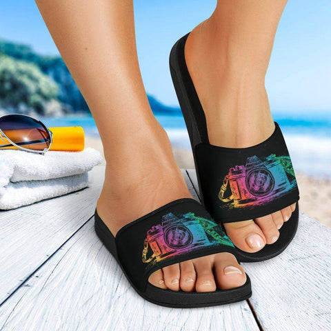 Image of Colorful Scratch Camera Slide Sandals Slides