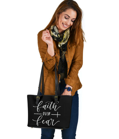 Image of Faith Over Fear, Vegan Leather Tote Bags