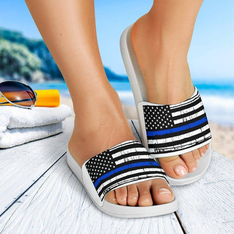 Image of Thin Blue Line Slide Sandals | White Slides