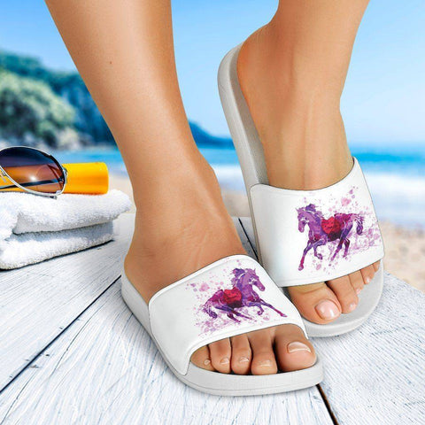 Image of Running Horse Slide Sandal | White Slides
