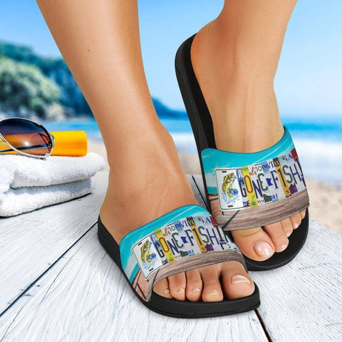 Image of Gone Fishing Slide Sandals | Perfect For Fishing Or... Slides