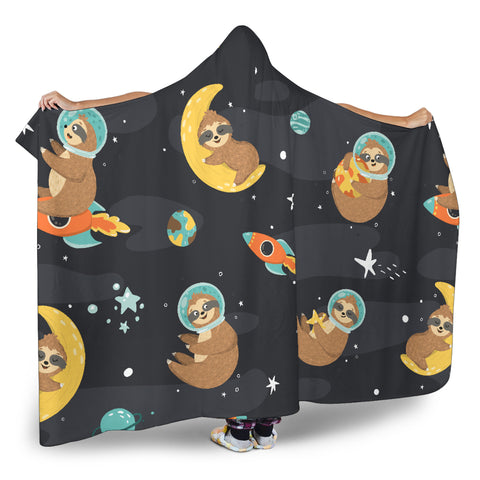 Sleeping Sloth Hooded Blanket Large Print