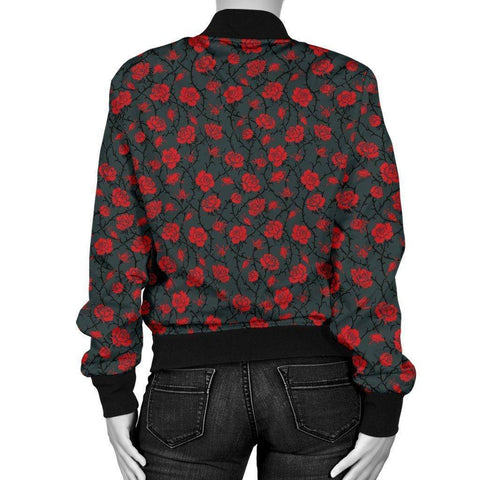 Image of Premium Bomber Jacket with Red Rose Pattern