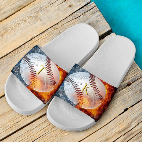 Image of Custom Baseball Slide Sandals | TK White