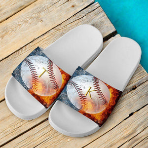 Custom Baseball Slide Sandals | TK White
