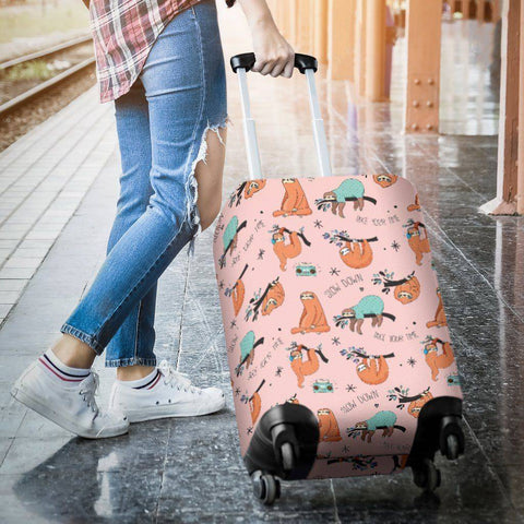 Cool Sloths Luggage Cover Pink
