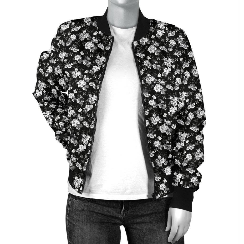 Premium Bomber Jacket, White Flowers with Butterflies