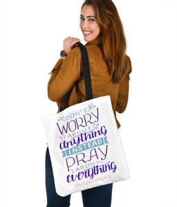Don't Worry, Pray About Everything, Canvas Tote Tote Bag