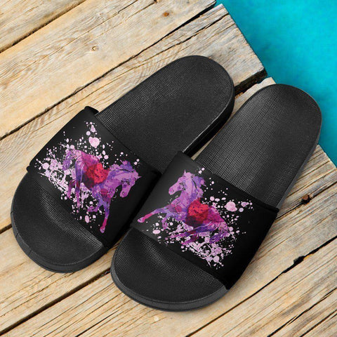 Image of Running Horse Slide Sandals | Black Slides