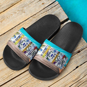 Gone Fishing Slide Sandals | Perfect For Fishing Or... Slides