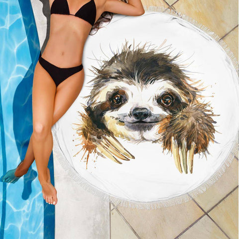 Happy Sloth Beach Blanket Beach Blanket