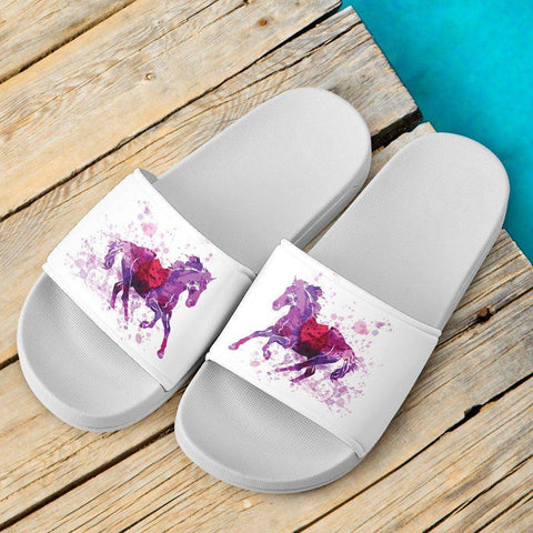 Running Horse Slide Sandal | White Slides