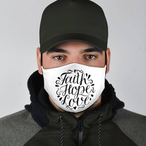 Faith Hope Love Face Mask Black Face Mask