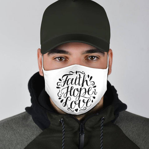Image of Faith Hope Love Face Mask Black Face Mask