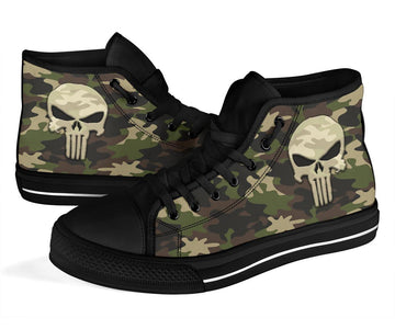 Camo Punisher Canvas High Tops Shoes