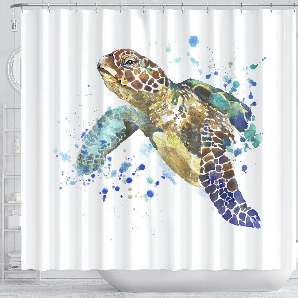 Turtle Shower Curtain, V.1 shower curtain