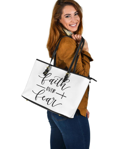 Image of Fatih Over Fear, Large Vegan Leather Tote Bags
