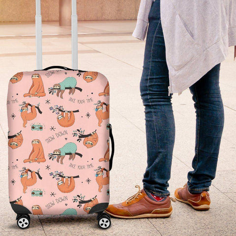 Image of Cool Sloths Luggage Cover Pink