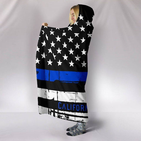 Image of Premium Thin Blue Line Hooded Blanket, California