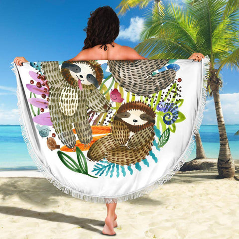 Image of Watercolor Sloths Beach Blanket Beach Blanket