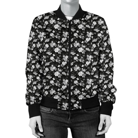 Image of Premium Bomber Jacket, White Flowers with Butterflies