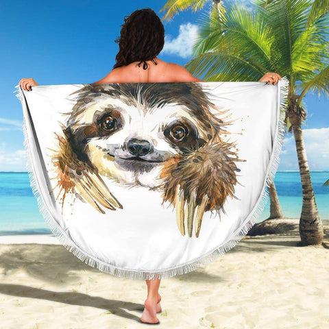 Image of Happy Sloth Beach Blanket Beach Blanket