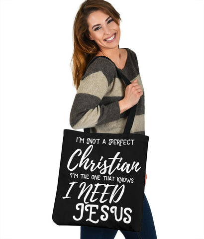 Not Perfect, I Need Jesus, Canvas Tote Tote Bag