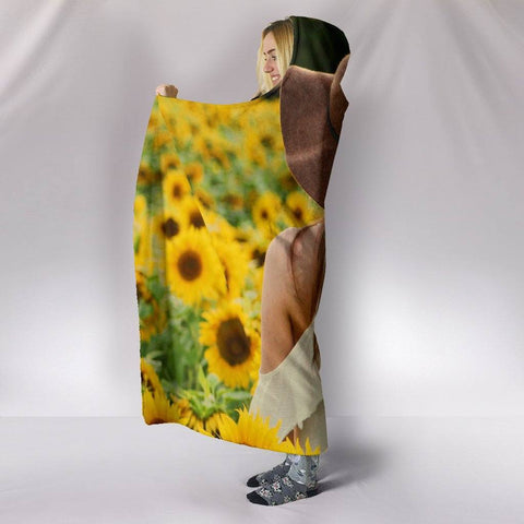 Peacful Sunflower Field Hoodie Blanket