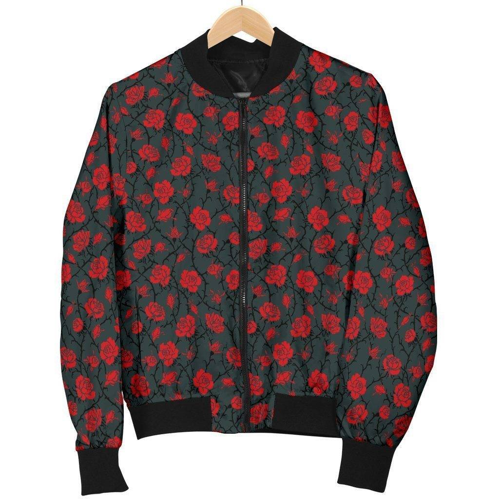 Premium Bomber Jacket with Red Rose Pattern
