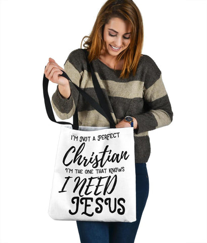 Image of Not Perfect, I Need Jesus, Canvas Tote Tote Bag