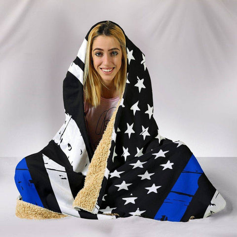 Image of Thin Blue Line Hooded Blanket