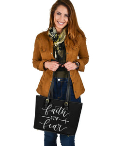 Faith Over Fear, Vegan Leather Tote Bags