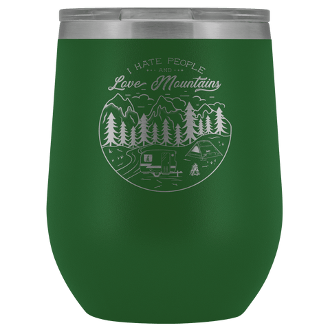 Image of Love The Mountains | Wine Tumbler Wine Tumbler Green